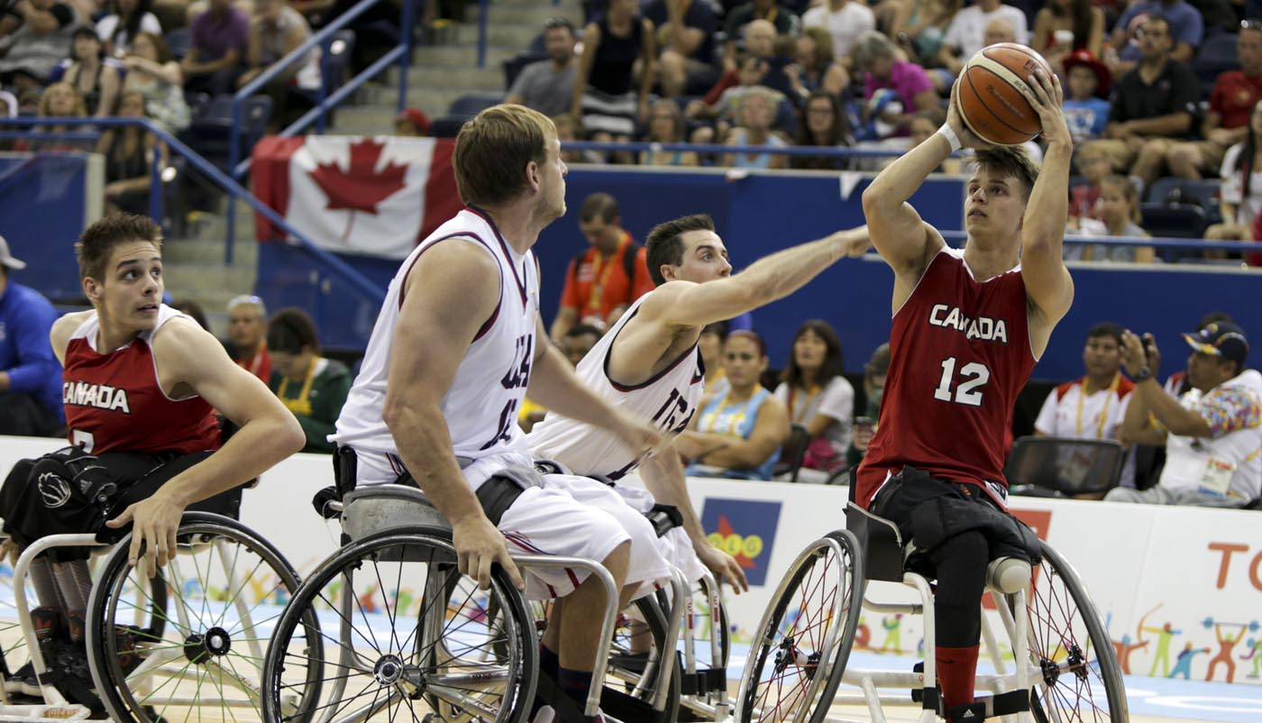 The Canadian Parapan Am Men's Wheelchair Basketball Team plays the United States in the gold medal game at the Toronto 2015 Parapan American Games on August 15, 2015 at the Ryerson Athletic Centre in Toronto.