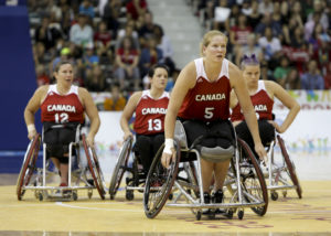 The Canadian Parapan Am Women's Wheelchair Basketball Team plays the United States in the gold medal game at the Toronto 2015 Parapan American Games on August 14, 2015 at the Ryerson Athletic Centre in Toronto.