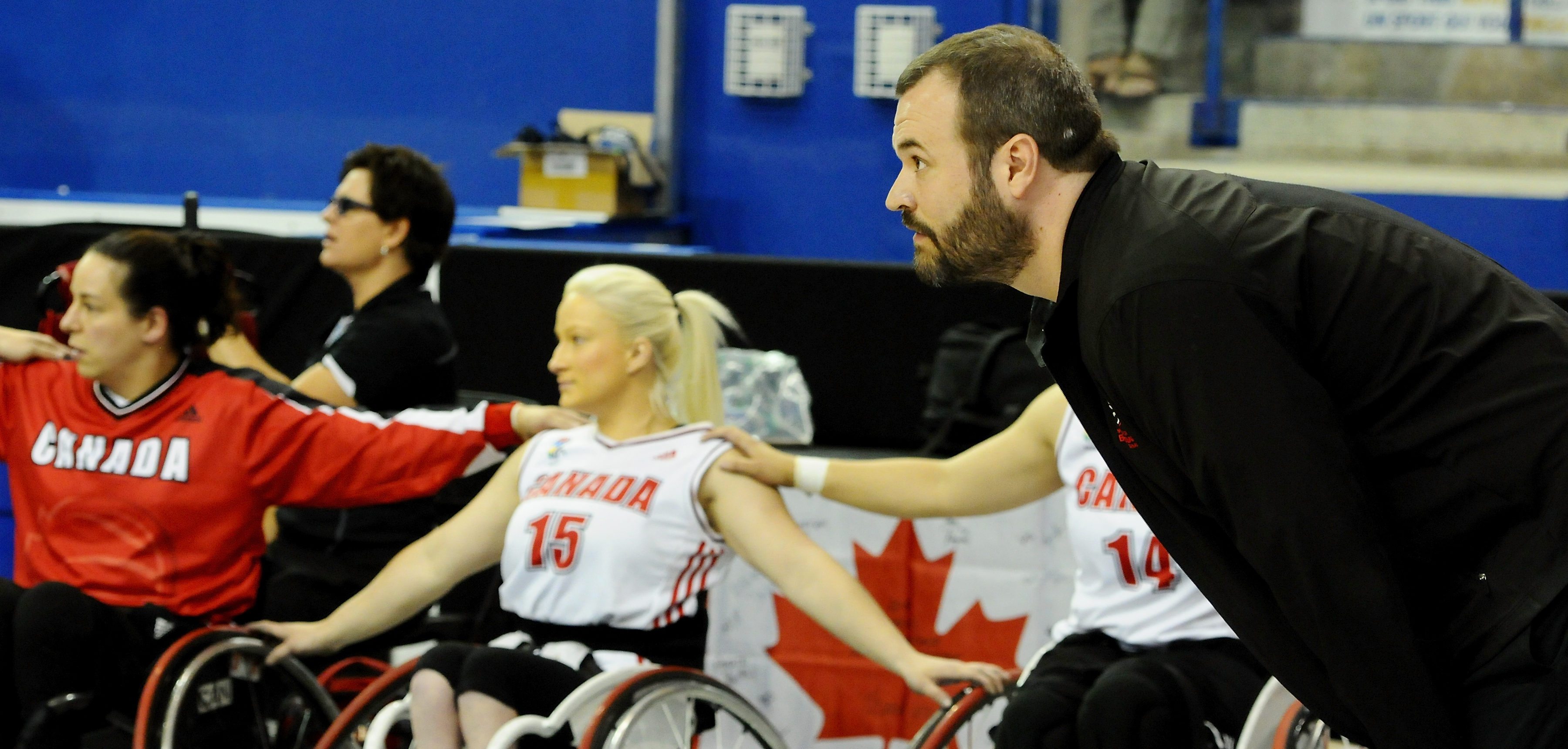 Head Coach Bill Johnson of Team Canada looks on anxiously in the dying seconds of a close game against Team Germany in the Gold Medal Game at the 2014 Women's World Wheelchair Basketball Championships in Toronto, Ontario, Canada.