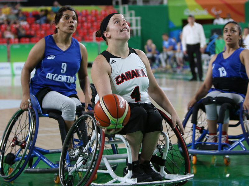RIO DE JANEIRO - 09/10/2016: The Canadian women's wheelchair basketball team competes in the preliminaries at the Rio 2016 Paralympic Games at the Olympic Arena. (Photo by Lindsay Crone/Canadian Paralympic Committee)
