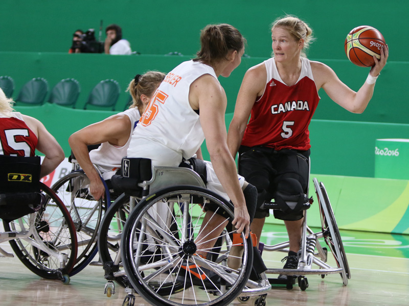 RIO DE JANEIRO 09/13/16 - The Canadian women's wheelchair basketball team plays Netherlands in the quarter-finals at the Rio 2016 Paralympic Games at the Rio Olympic Arena. (Photo by Lindsay Crone/Wheelchair Basketball Canada)