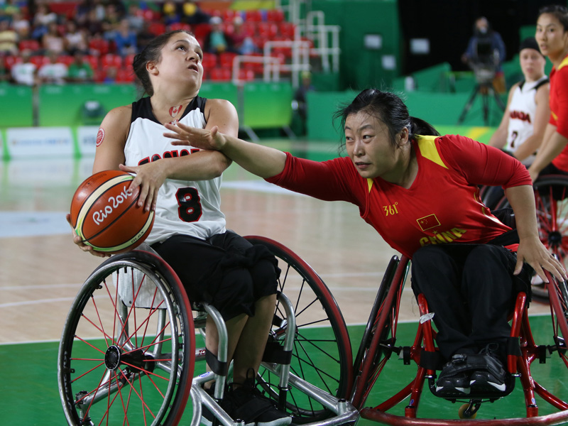 RIO DE JANEIRO 09/16/16 - The Canadian women's wheelchair basketball team plays against China in the classification round for 5th place at the Rio 2016 Paralympic Games at the Rio Olympic Arena. (Photo by Lindsay Crone/Wheelchair Basketball Canada)