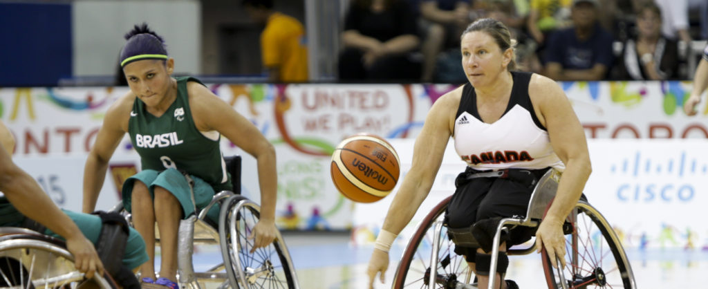 The Canadian Parapan Am Women's Wheelchair Basketball Team plays Brazil in the preliminary round at the Toronto 2015 Parapan American Games on August 11, 2015 at the Ryerson Athletic Centre in Toronto.