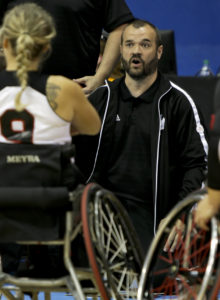 The Canadian Parapan Am Women's Wheelchair Basketball Team plays Argentina in the semifinals at the Toronto 2015 Parapan American Games on August 13, 2015 at the Ryerson Athletic Centre in Toronto.