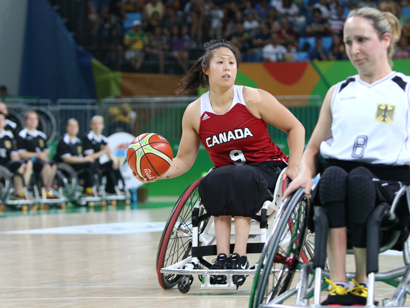 RIO DE JANEIRO - 09/11/16 - The Canadian women's wheelchair basketball team plays Germany in the preliminaries at Rio 2016 Paralympic Games at Carioca Arena 1. (Photo by Lindsay Crone/Wheelchair Basketball Canada)
