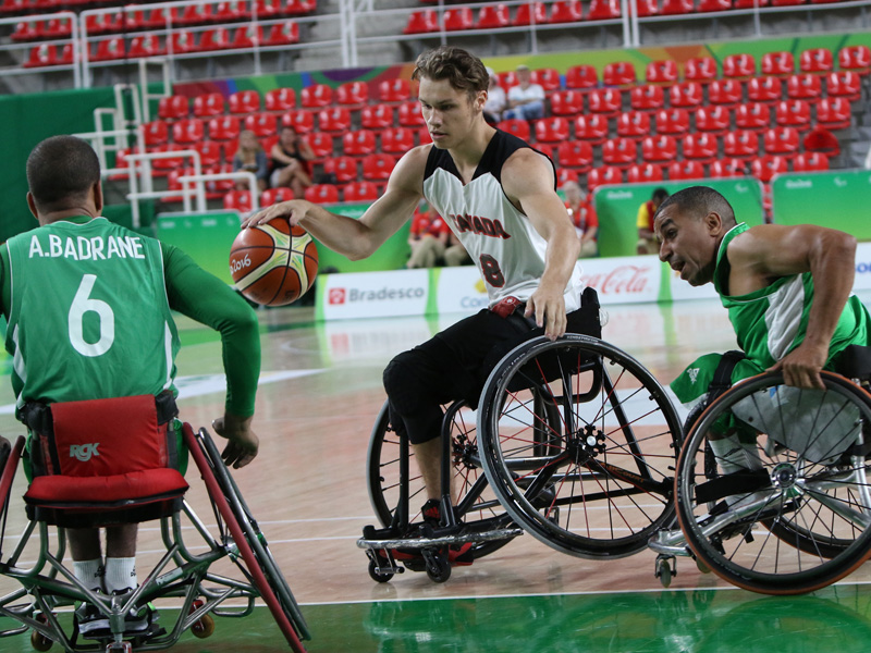 RIO DE JANEIRIO 09/14/16 - The Canadian men's wheelchair basketball team plays against Algeria in their final match of the Rio 2016 Paralympics Games to qualify for 11th place. (Photo by Lindsay Crone/Wheelchair Basketball Canada)